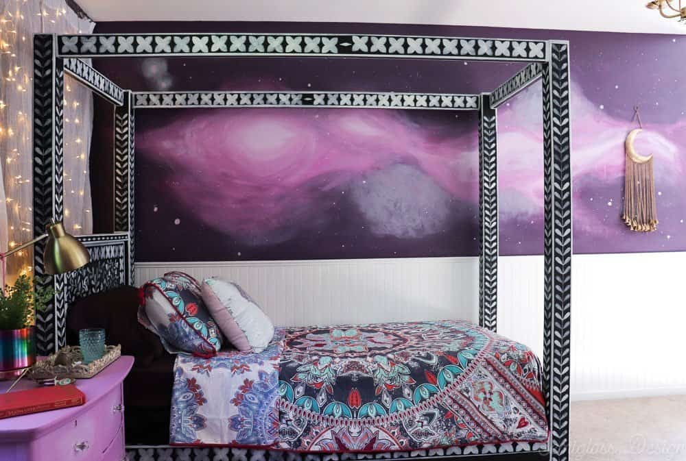 stenciled bone inlay canopy bed with boho bedding