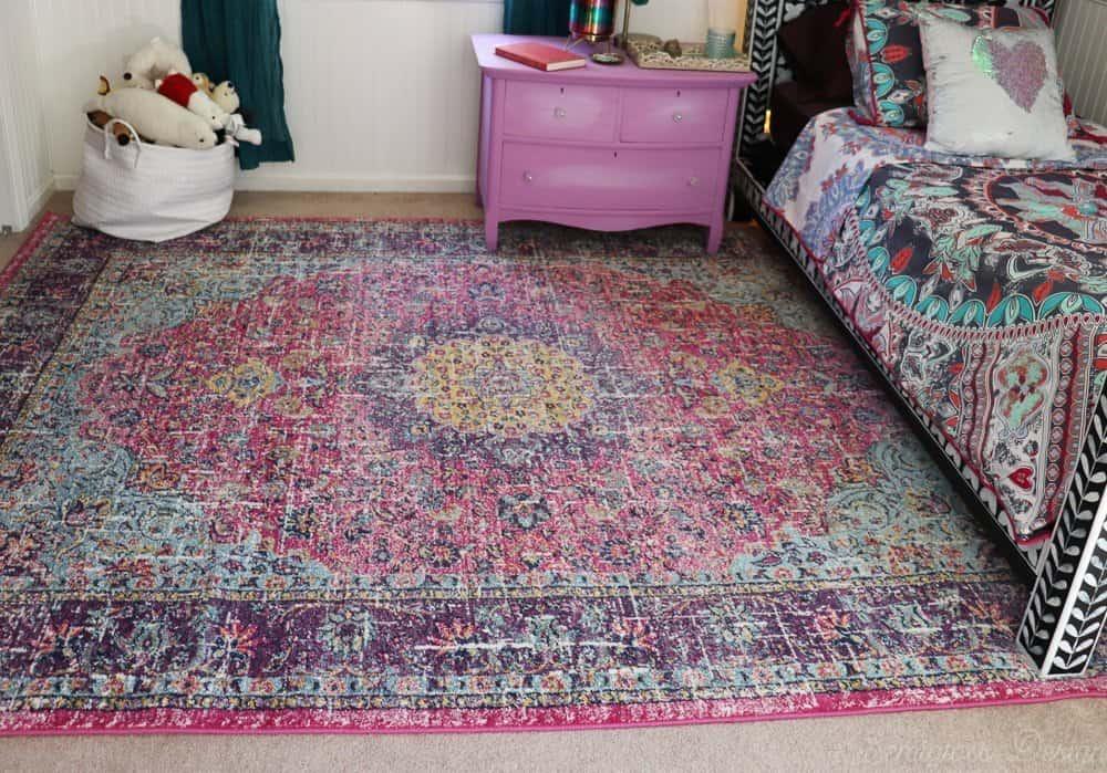 boho rug in tween bedroom