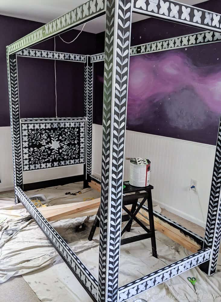stenciled bone inlay canopy bed