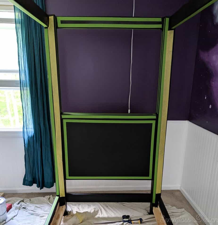 tape on canopy bed