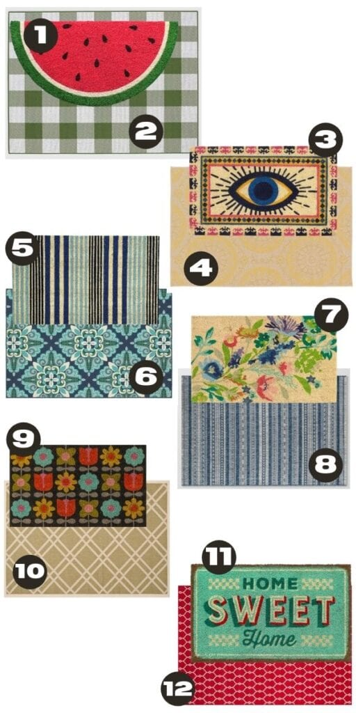 Collage of colorful layered doormats
