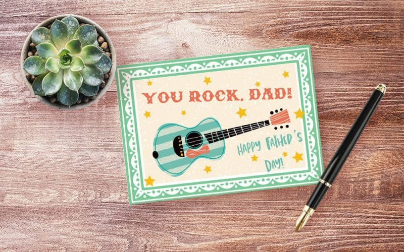 Retro guitar card for Father's Day