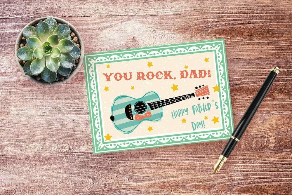 Printable Father's Day card featuring retro guitar image.