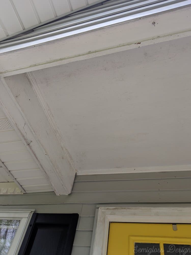 porch ceiling before makeover