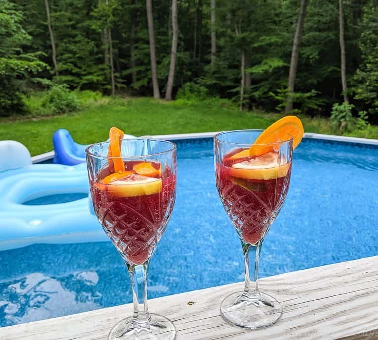 glasses of sangria poolside