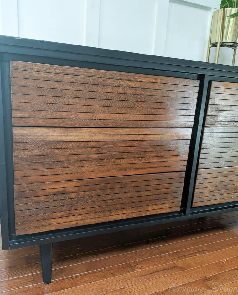two tone midcentury dresser with wood drawers