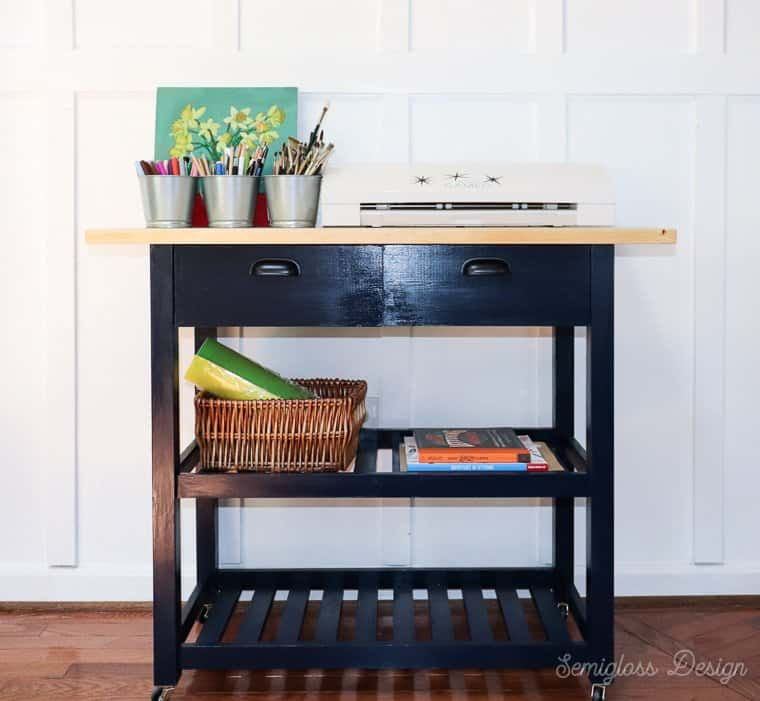 ikea kitchen cart used as craft cart