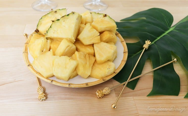 a plate of freshly cut pineapple