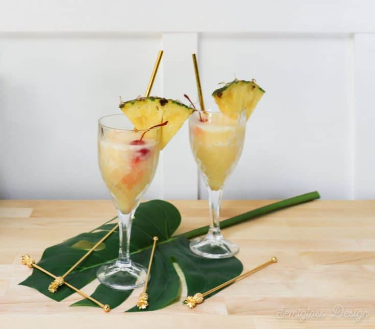 pina coladas in glasses
