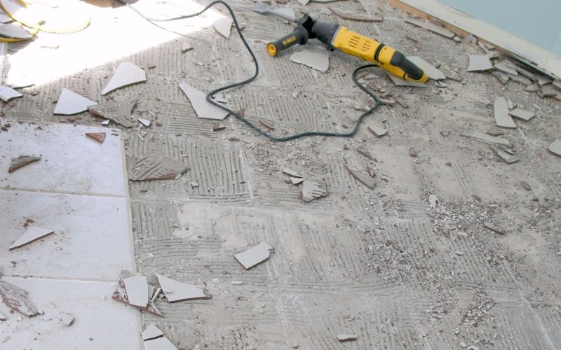 removing tile with a rotary hammer and chisel bit