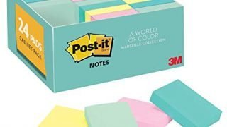 Post-it Notes, 24 Pads/Pack, 1 3/8 in. x 1 7/8 in, Marseille Colors