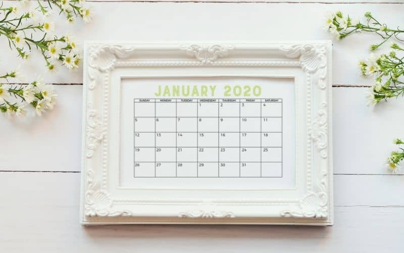 january 2020 calendar in frame