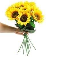 Artificial Sunflowers 6 PCS Long Stem Fake Sunflowers