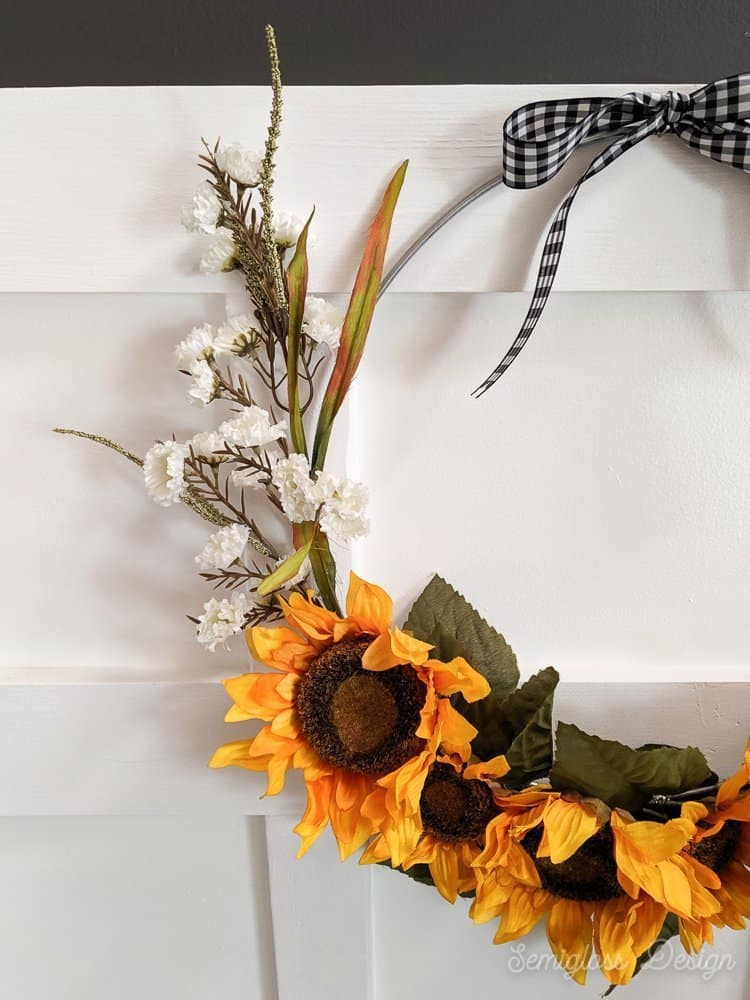 close up of DIY sunflower wreath
