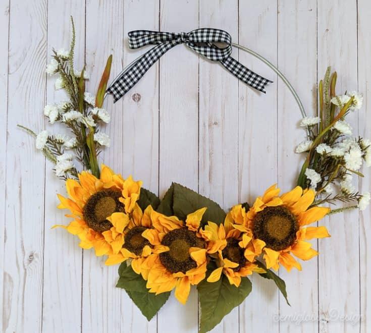 modern sunflower wreath