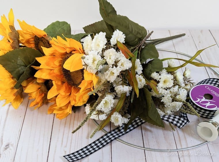 DIY sunflower wreath supplies