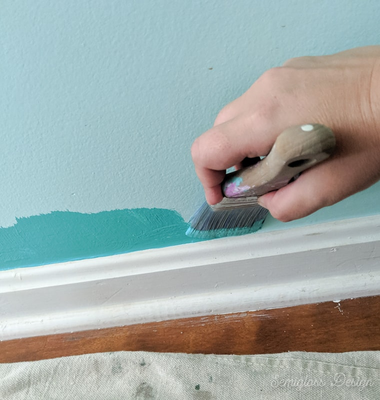 edging paint with brush