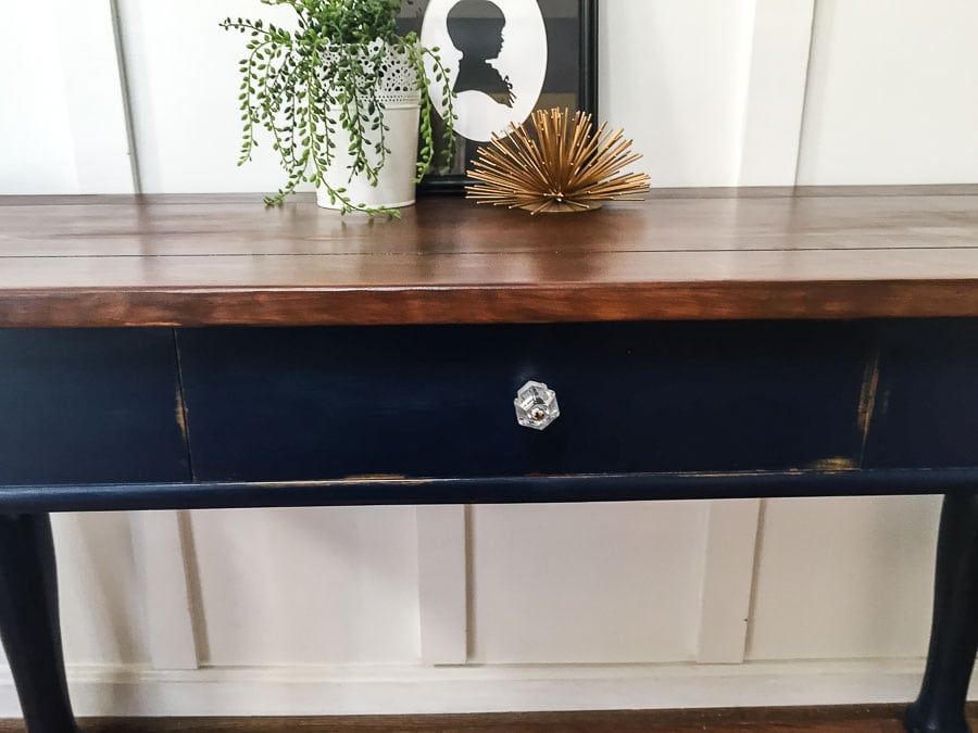 chalk paint on console table
