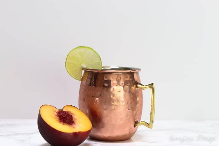 peach moscow mule in mug