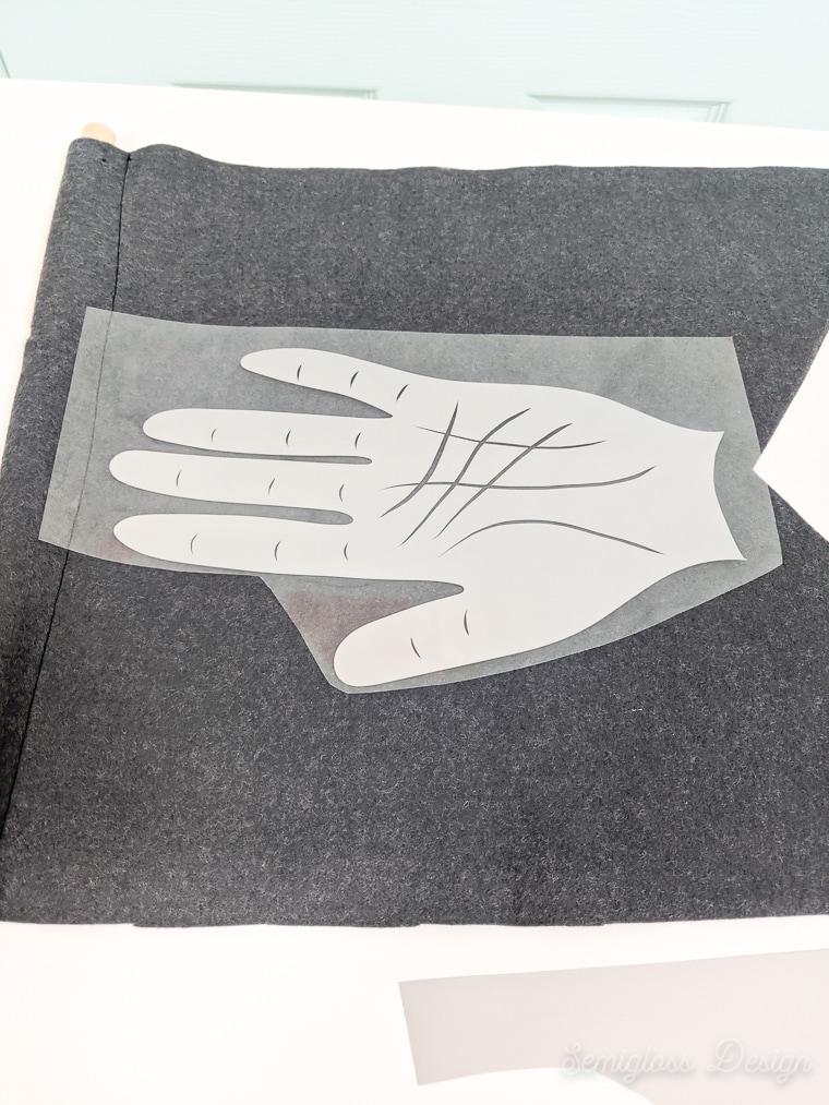 htv hand design on felt banner