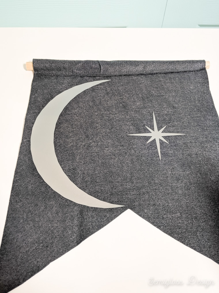 felt banner with moon and star
