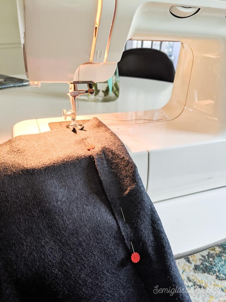 sewing pocket on felt banner for hanging dowel