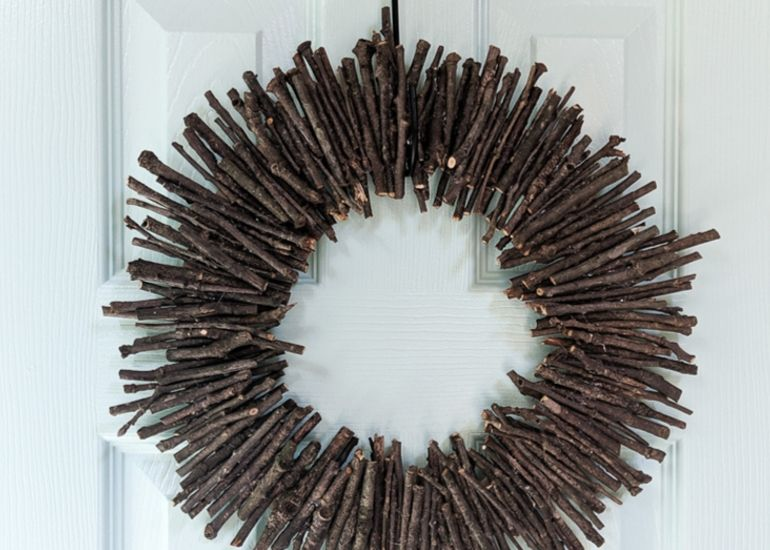 modern twig wreath on aqua door