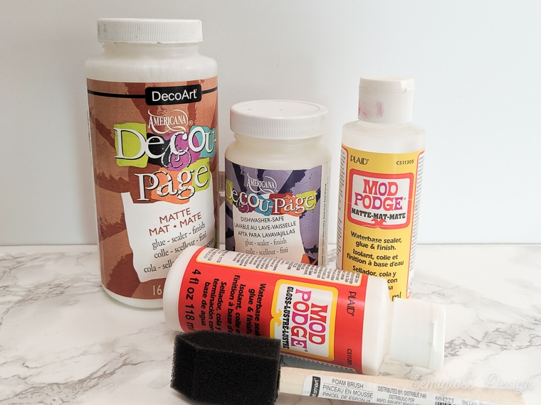 decoupage glue bottles and foam brush