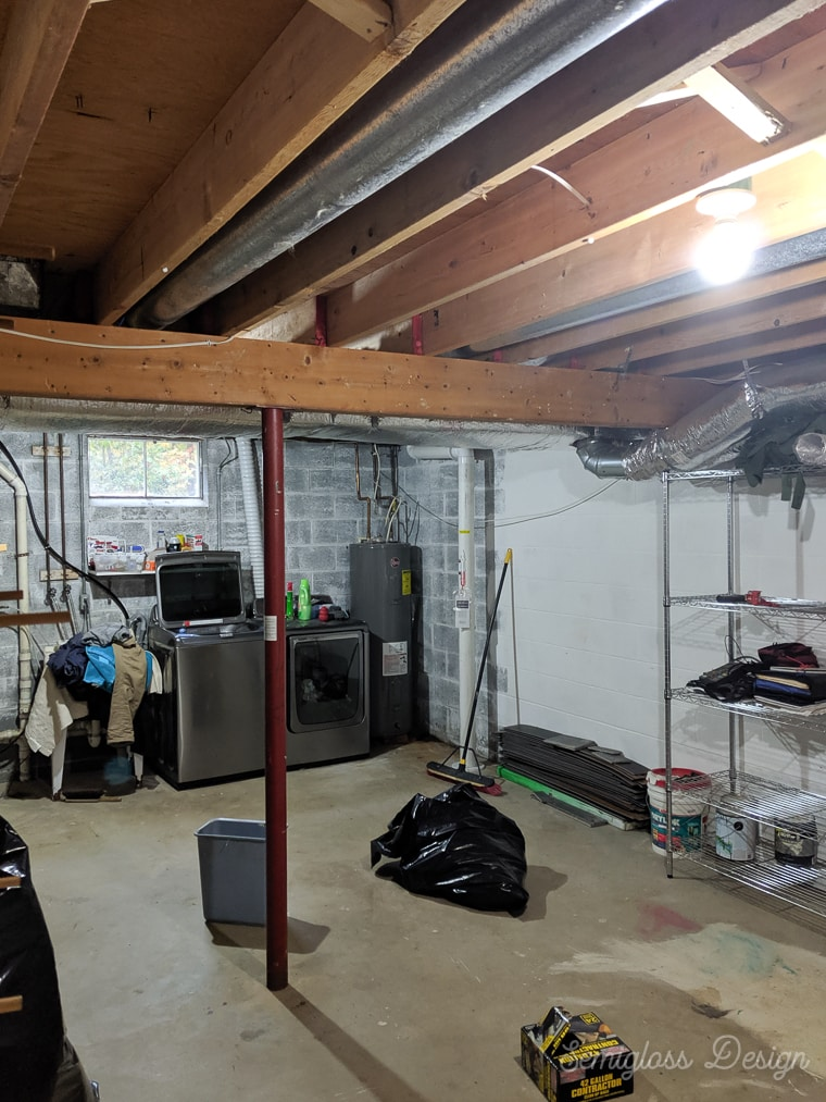 basement with insulation removed