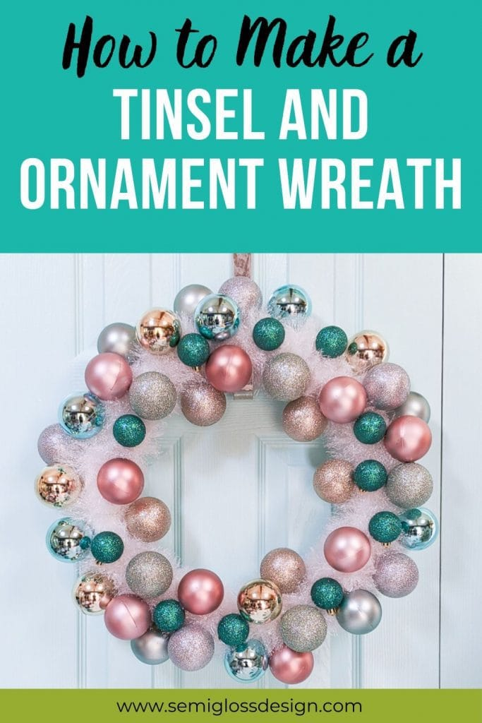 tinsel and ornament wreath