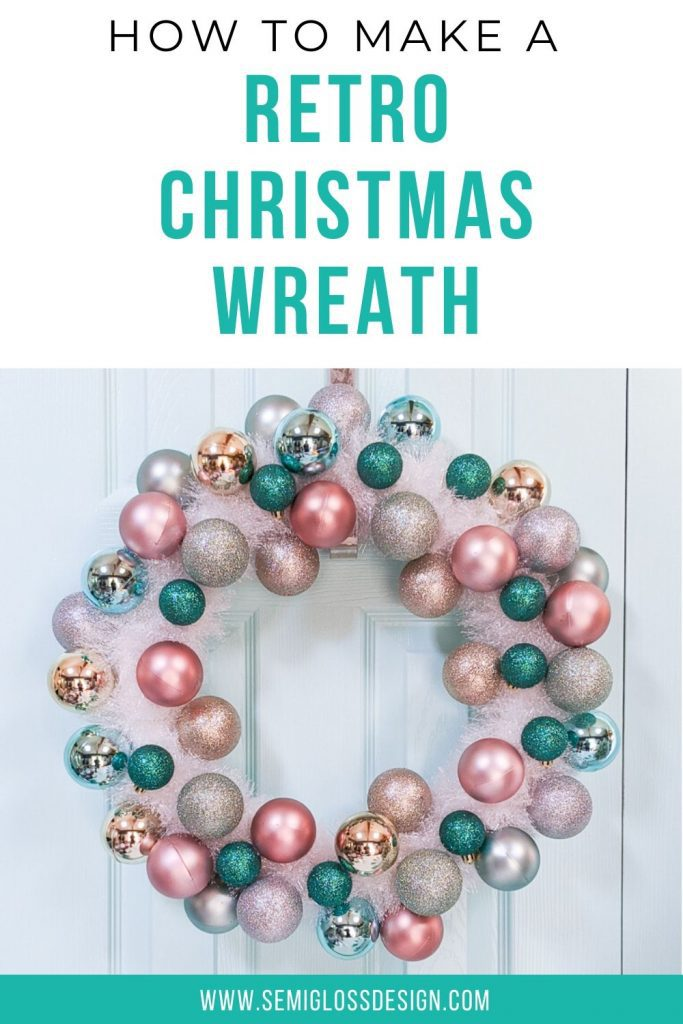 retro Christmas wreath with ornaments and tinsel