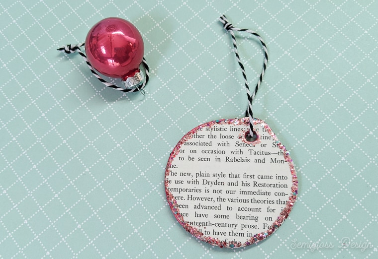 decoupage book page ornament
