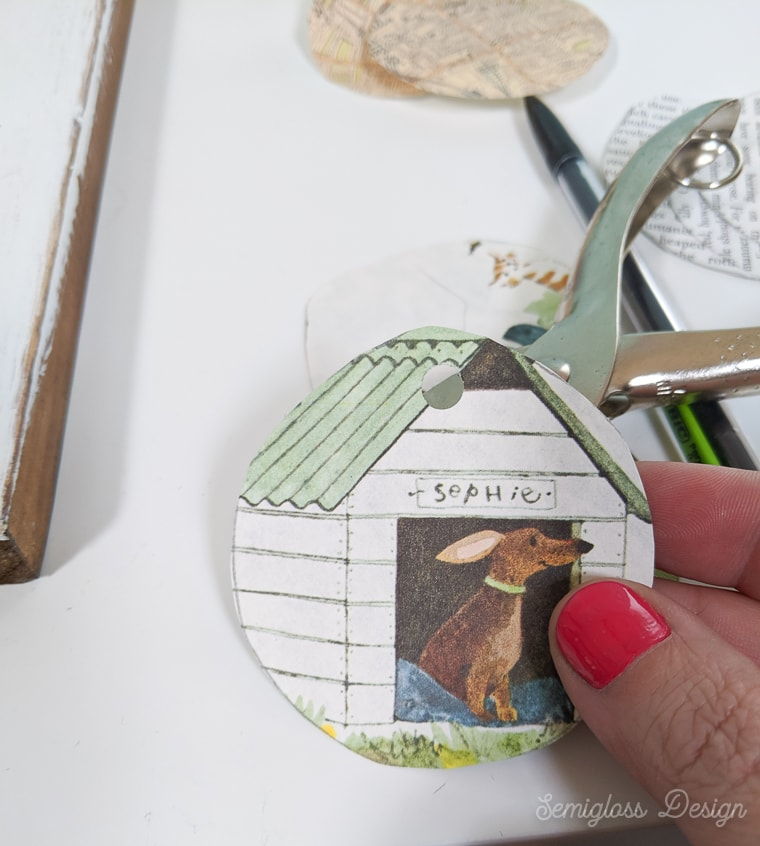 using a hole punch for decoupaged ornaments