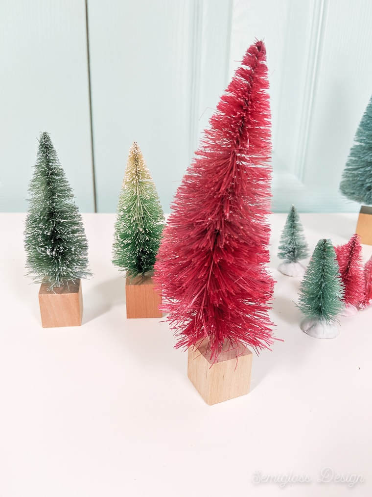 bottle brush tree with wooden block base