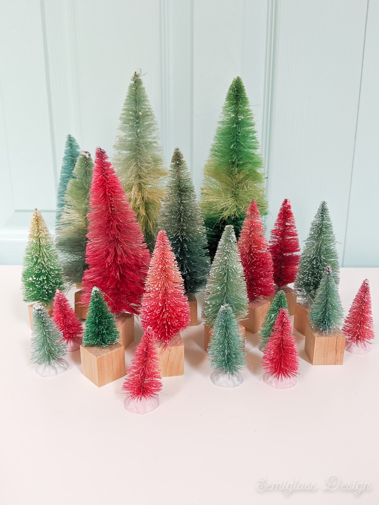 coloful diy bottle brush tree forest display