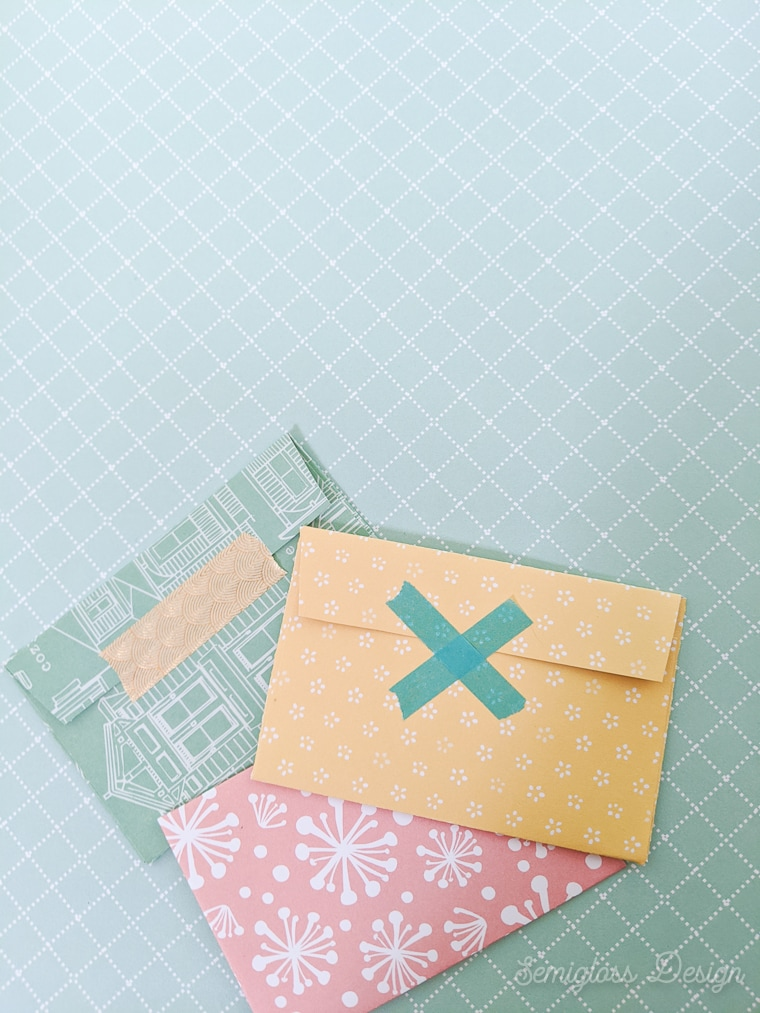 gift cards with washi tape on back