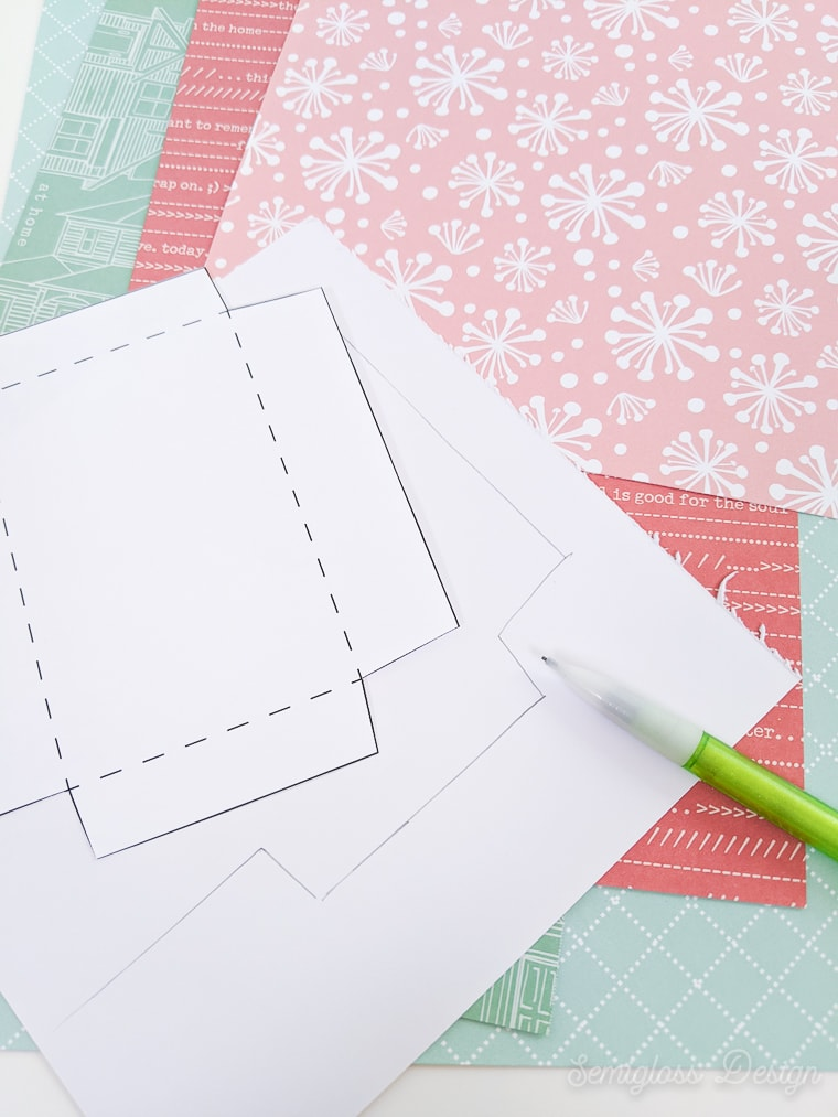 tracing template onto pretty paper
