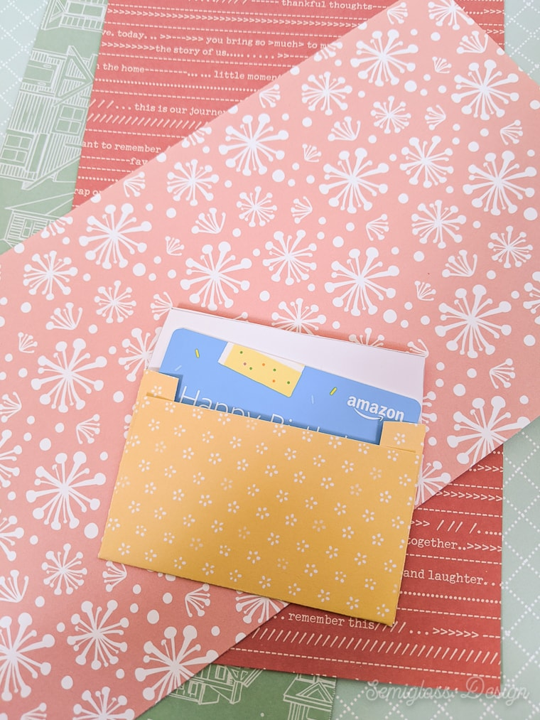 gift card envelope with gift card