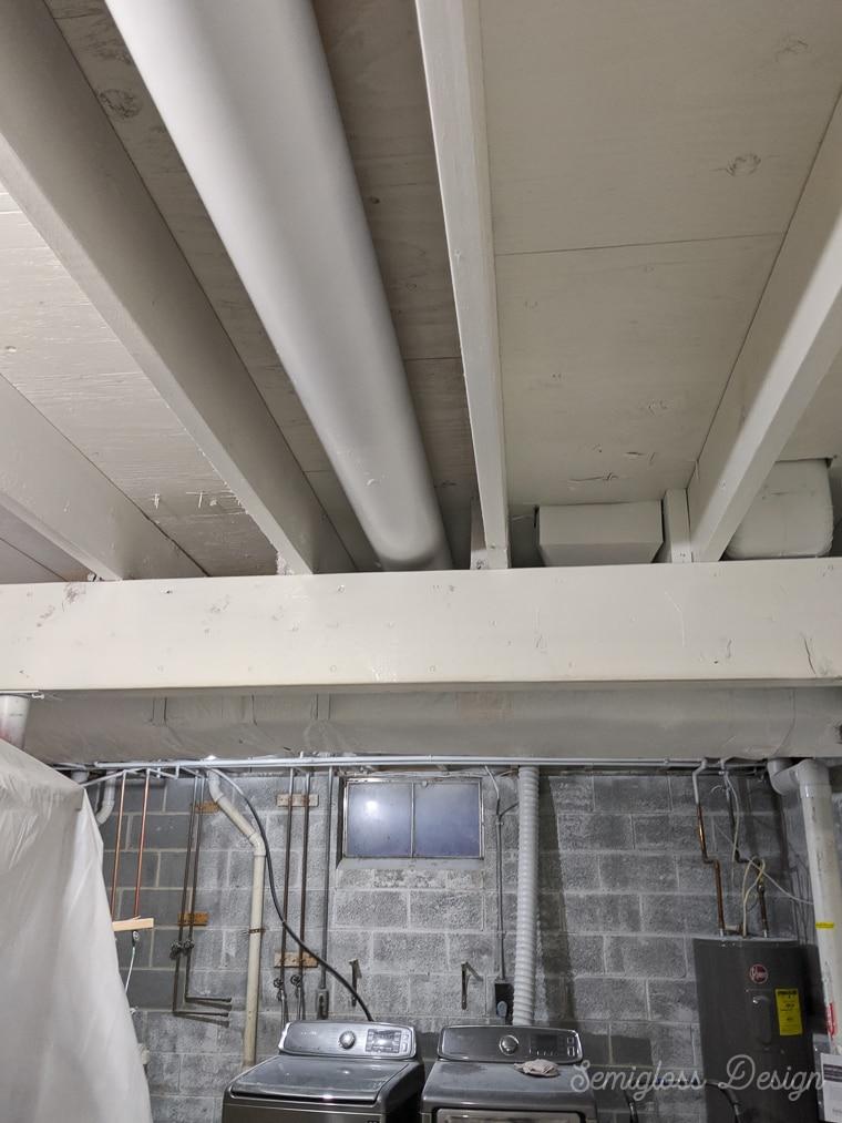 primed basement ceiling