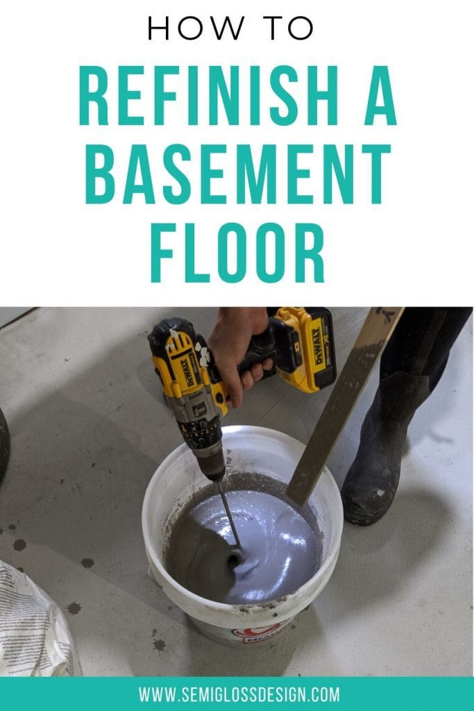 using a drill to mix concrete overlay to refinish basement floor