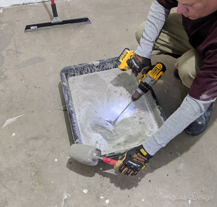 mixing concrete with a drill
