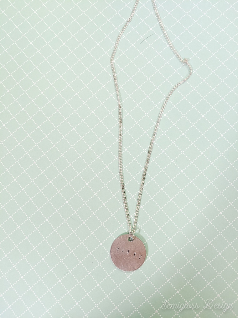 stamped metal jewelry necklace