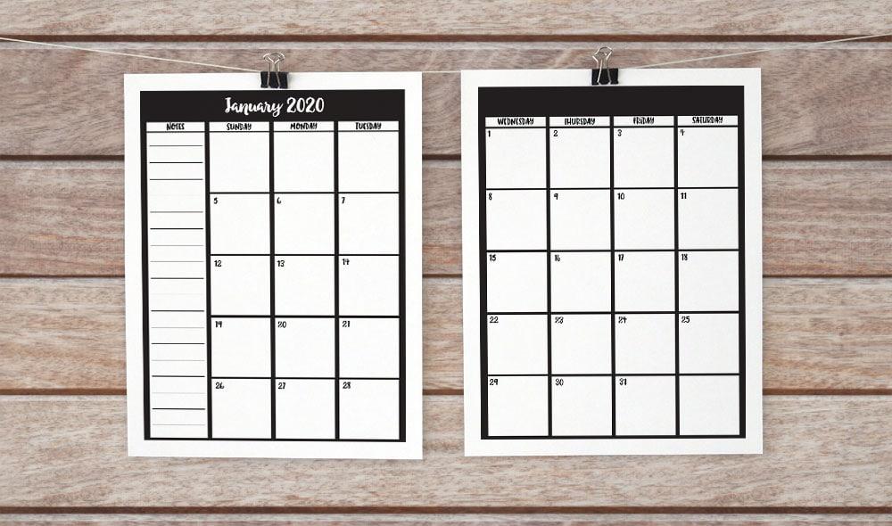 2 page 2020 calendar