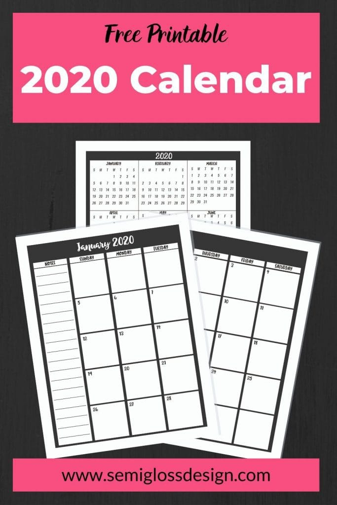 2020 printable calendar 2 page monthly spread