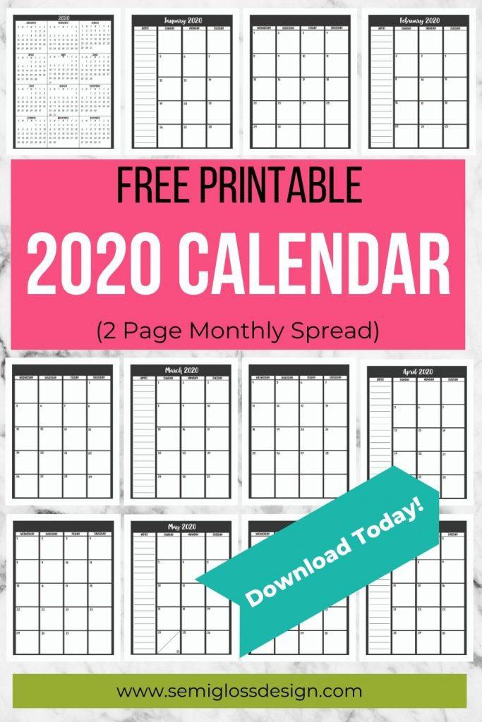 2020 printable calendar collage