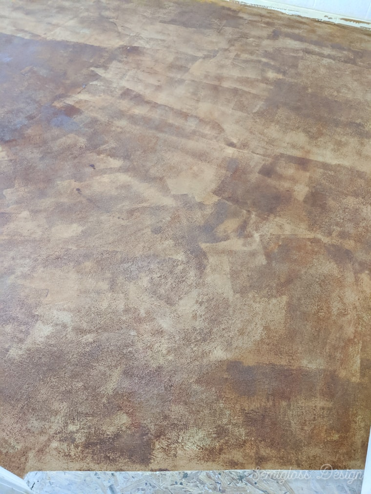 stained concrete floor after cleaning