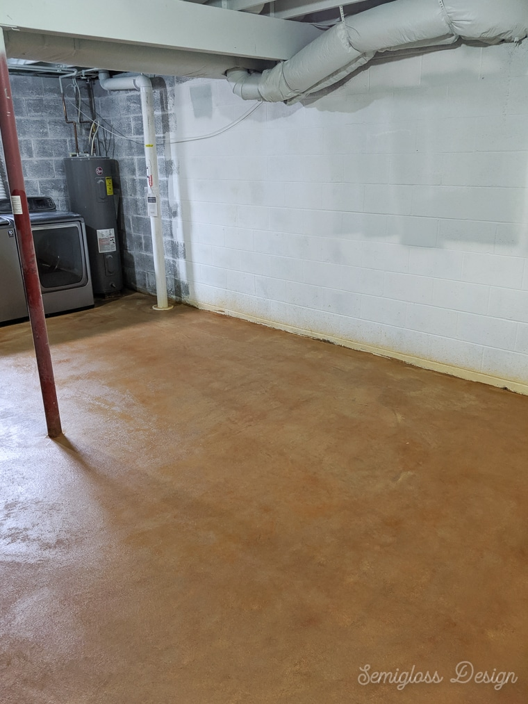 stained concrete floor in basement