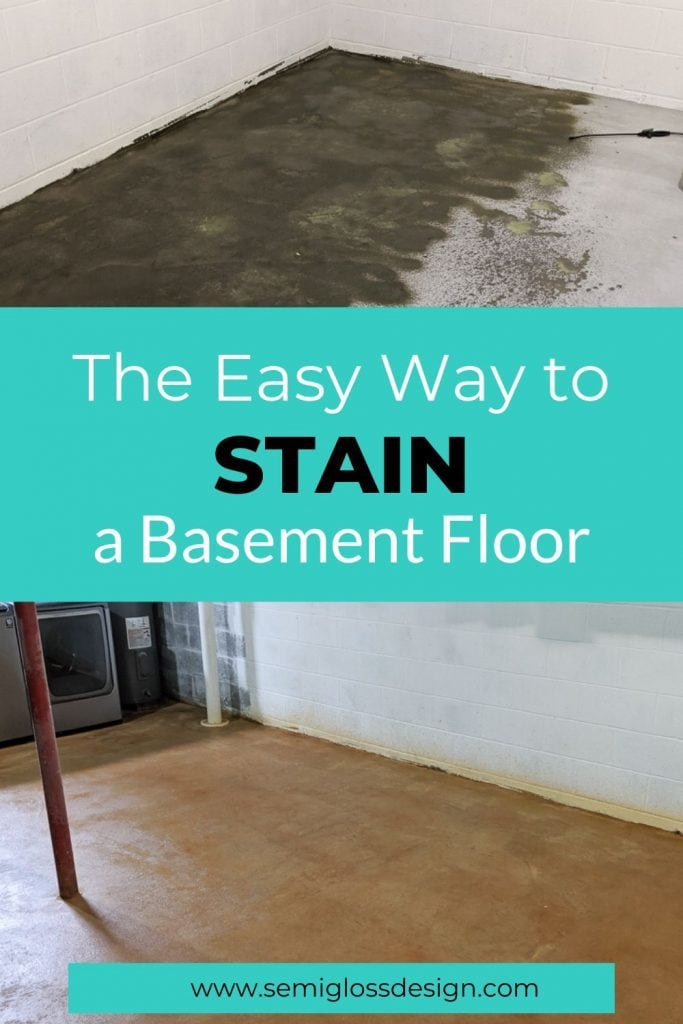 staining a basement floor collage