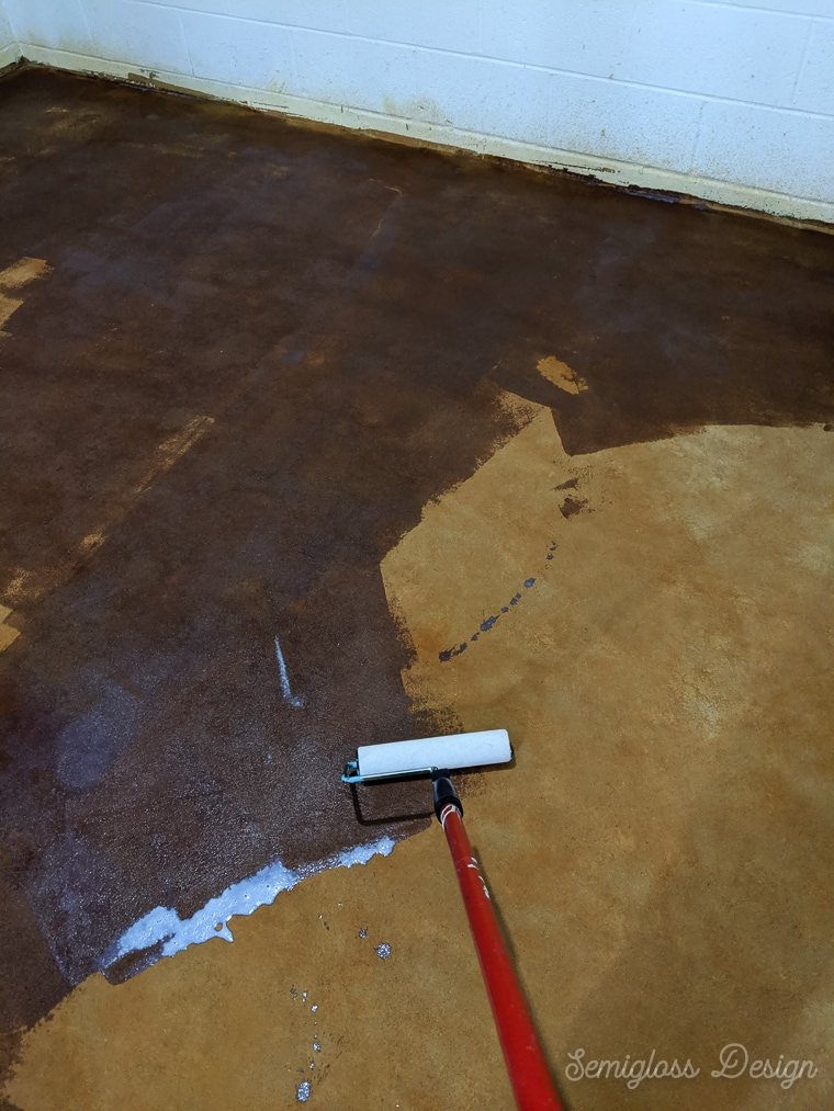 rolling concrete sealer over concrete stain