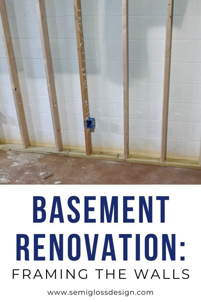basement renovation collage: framed walls in basement